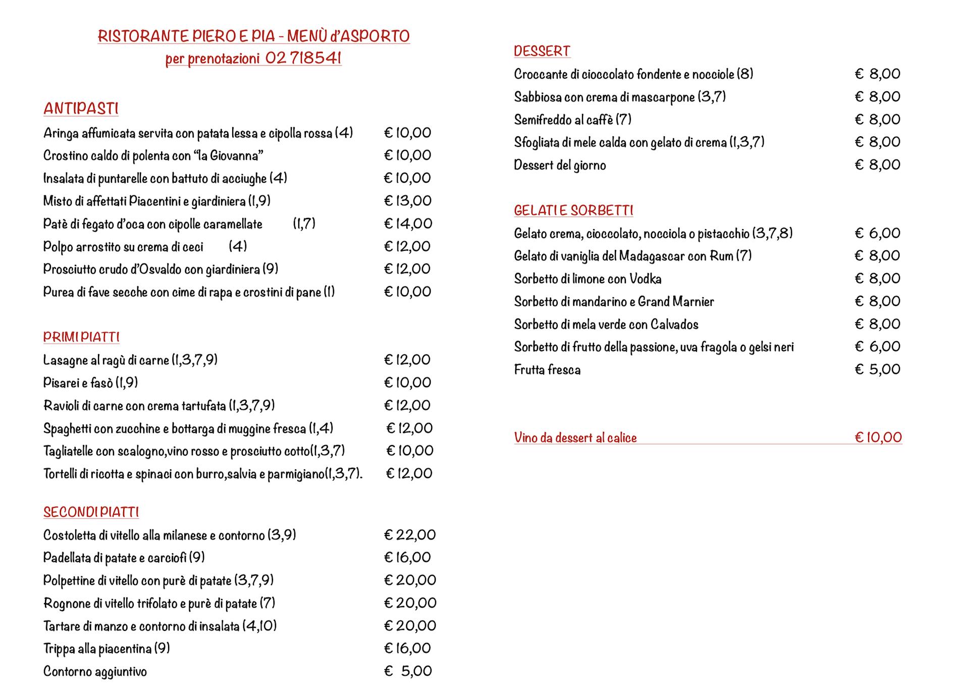 menu ristorante piacentino milano da asporto